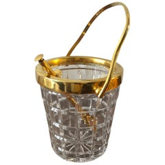 Val St Lambert Crystal and Gold-Plated Ice Bucket with Tongs, Belgium, 1950s