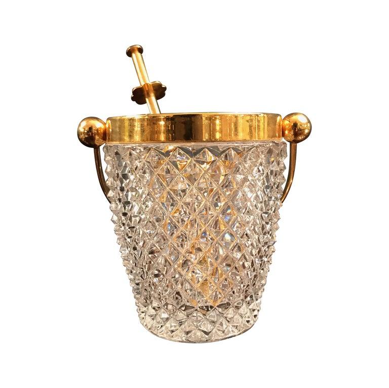 Mid-Century Modern Val St Lambert Crystal Ice Bucket For Sale