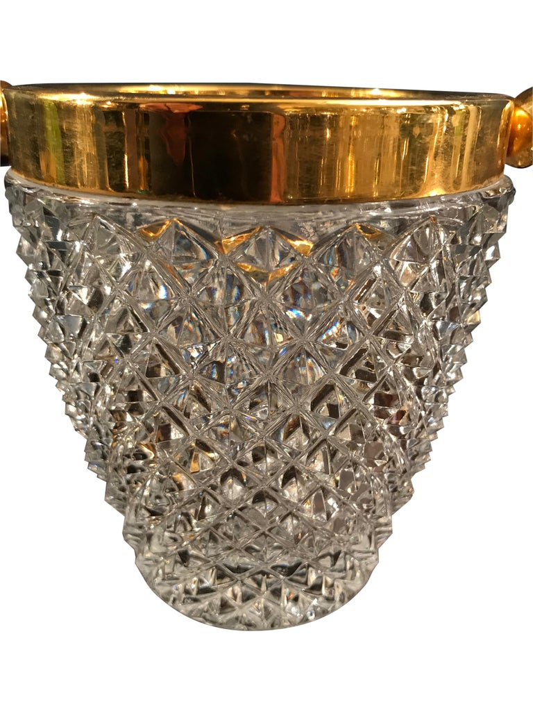 Val St Lambert Crystal Ice Bucket In Good Condition For Sale In London, GB