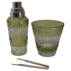 Val St Lambert Cut Crystal Cocktail / Shaker & Ice Bucket