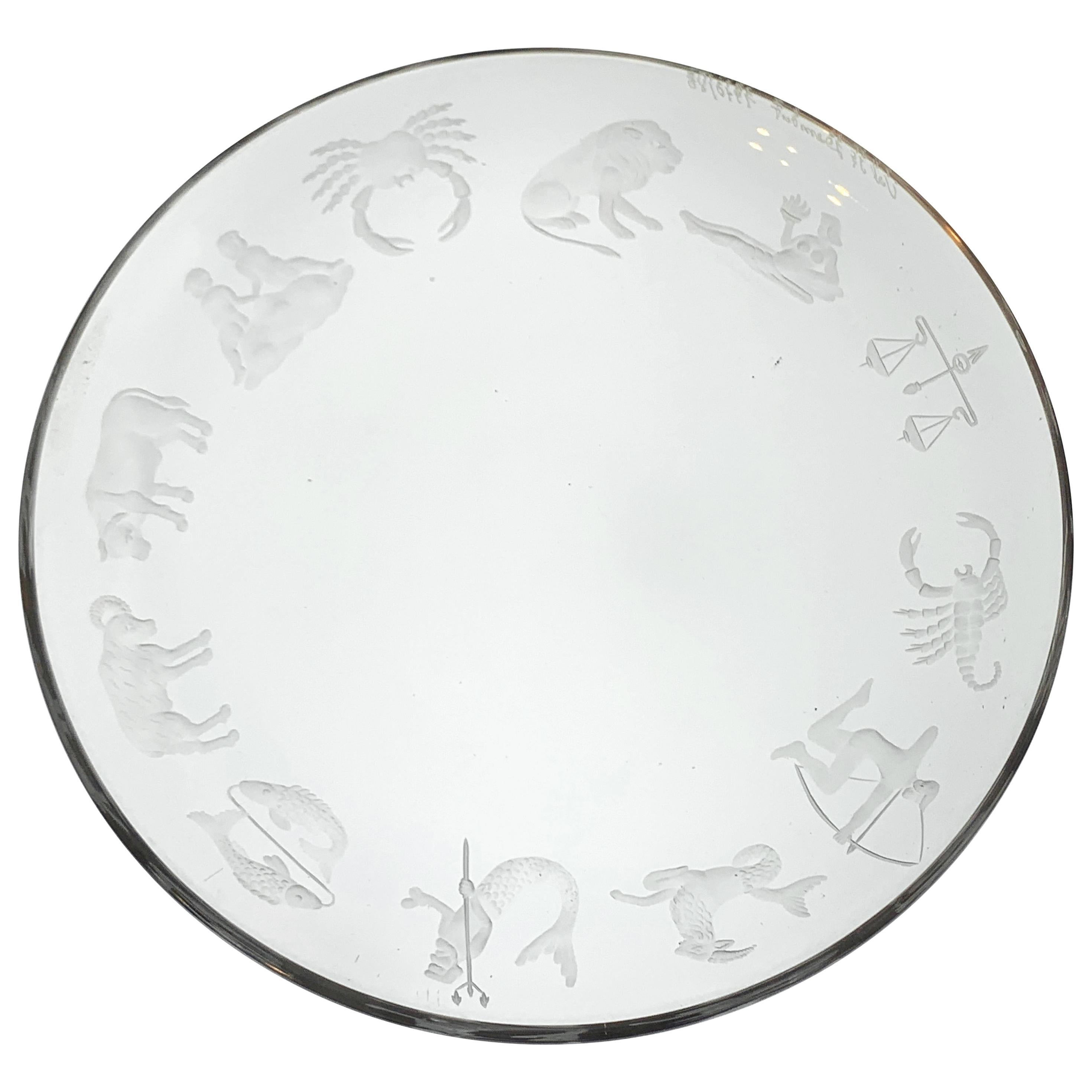 Val St. Lambert, Engraved Zodiac Charger