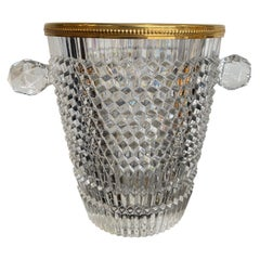 Val St Lambert Faceted Crystal Champagne Bucket with Gold Plated Detailed Rim