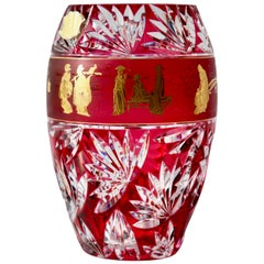 Val St Lambert 'Label' Masterpieces, Gold Decorated Crystal Vase Cut to Clear