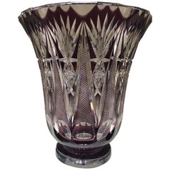 Val St Lambert Large and Heavy Crystal Vase in Amethyst and Clear Glass