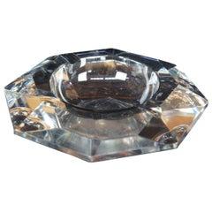 Val St Lambert Octagonal Faceted Crystal Cigarette Cigar Ashtray Amadis