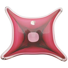 Val St Lambert, Striking Cranberry Red Crystal Centrepiece / Fruit Bowl