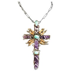 Val Stern, Kneeling Cross, Articulated Sculptural Necklace, 21st Century