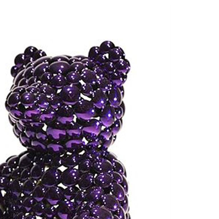 Purple Teddy Bear - Black Still-Life Sculpture by Valay Shende