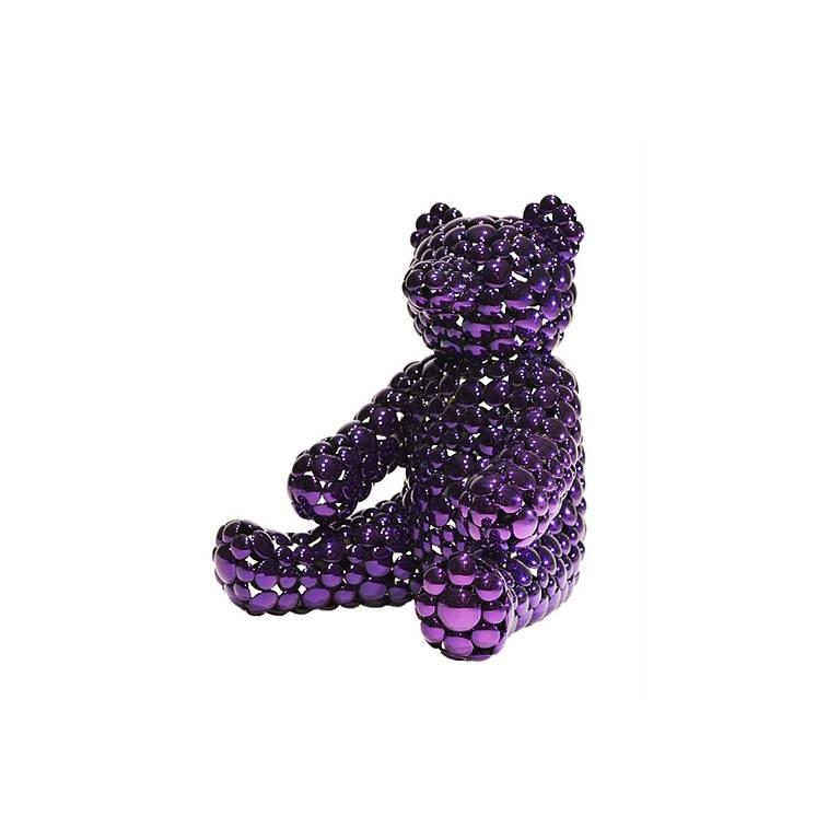 Valay Shende  Still-Life Sculpture - Purple Teddy Bear