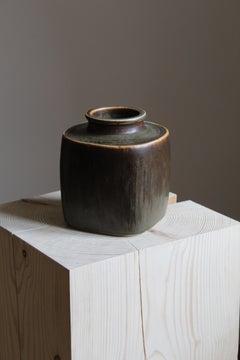 Valdemar Petersen, modernist vase, glazed stoneware, Bing & Grøndahl, 1950s