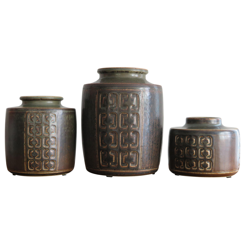 Valdemar Petersen Scandinavian Ceramic Pottery Vases Set, 1960s