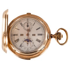 Valdor Moonphase Minute Repeater 32 Jewel Antique Pocket Watch in Yellow Gold