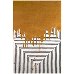 Valencia Mustard Area Rug in Hand Tufted Wool and Botanical Silk by Rug'Society