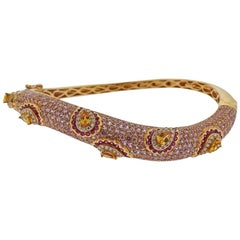 Valente 10.89 Carat Pink Sapphire Diamond Citrine Gold Bangle Bracelet
