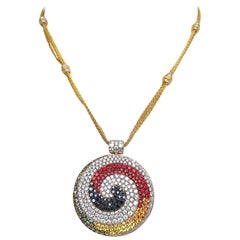 Valente 18 KT Yellow Gold Swirl Pendant with Diamonds and Multicolored Sapphires