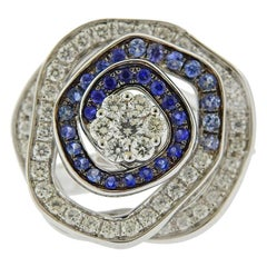 Valente Blue Sapphire Diamond Gold Flower Ring