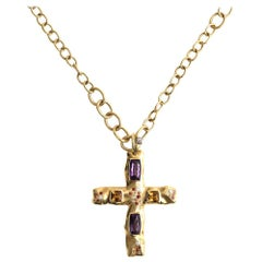 Valente Citrine Amethyst Sapphire Diamond 18 Karat Gold Cross Pendant