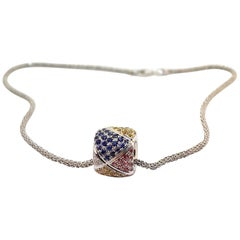 Valente Clash 18.6 Carat Multicolored Sapphires 18 Karat Gold Pendant Necklace