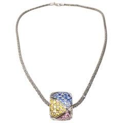 Valente Clash Collection 18.6 Carat Multi Sapphires 18k Gold Pendant Necklace