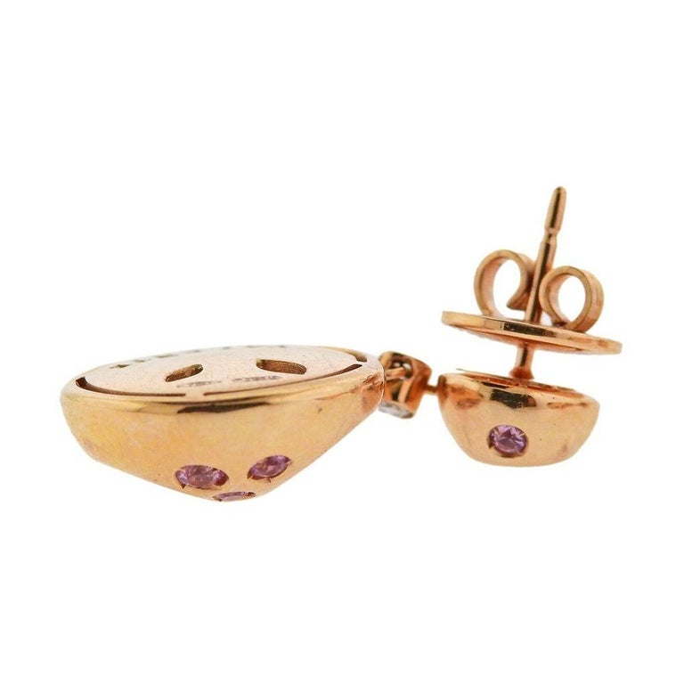 Valente Diamond Sapphire Rose Gold Earrings In Excellent Condition For Sale In Boca Raton, FL