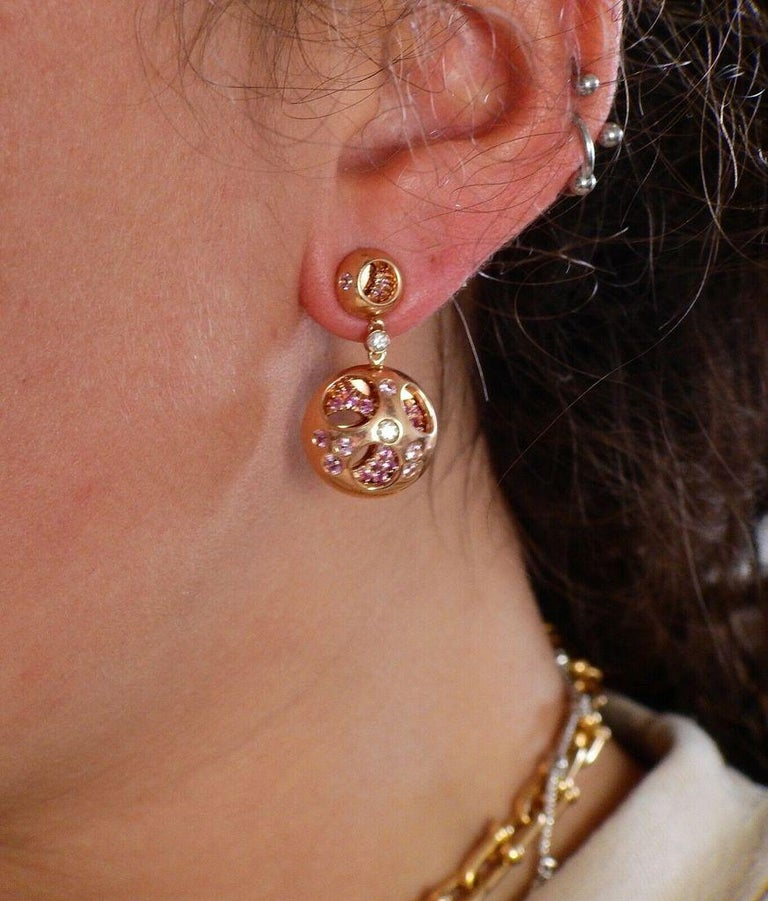 Women's or Men's Valente Diamond Sapphire Rose Gold Earrings For Sale