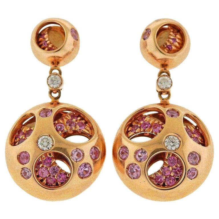 Valente Diamond Sapphire Rose Gold Earrings For Sale