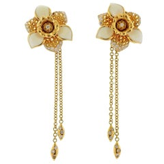 Valente Diamond Yellow Sapphire Enamel Gold Flower Drop Earrings
