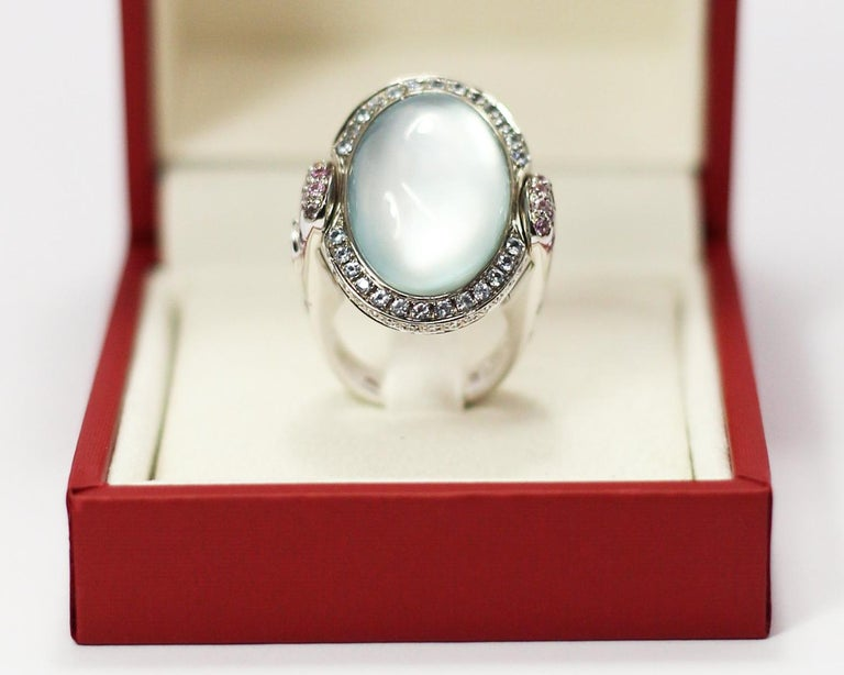 Valente Double Face Mother of Pearl 18 Karat Gold Ring with Diamonds & Sapphires For Sale 6
