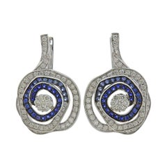 Valente Gold Diamond Blue Sapphire Rose Flower Earrings