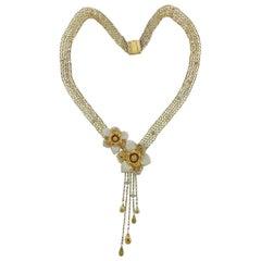 Valente Gold Diamond Yellow Sapphire Enamel Flower Pendant Necklace