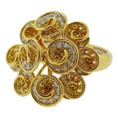 Valente Gold Diamond Yellow Sapphire Swirl Ring