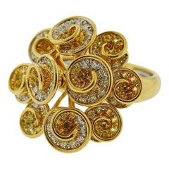 Valente Gold Diamond Yellow Sapphire Swirl Ring