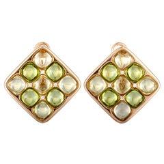 Valente Milano 18 Karat Rose Gold Diamond and Green Quartz Square Huggie Omega