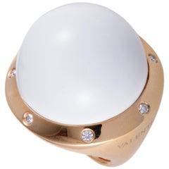 Valente Milano 18 Karat Rose Gold Diamond and White Agate Large Dome Ring