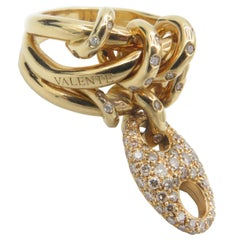 Valente Milano 18 Karat Yellow Gold and Diamond Ring by John Galliano