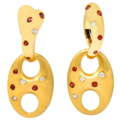 Valente Milano Diamond Ruby 18 Karat Gold Italian Earrings