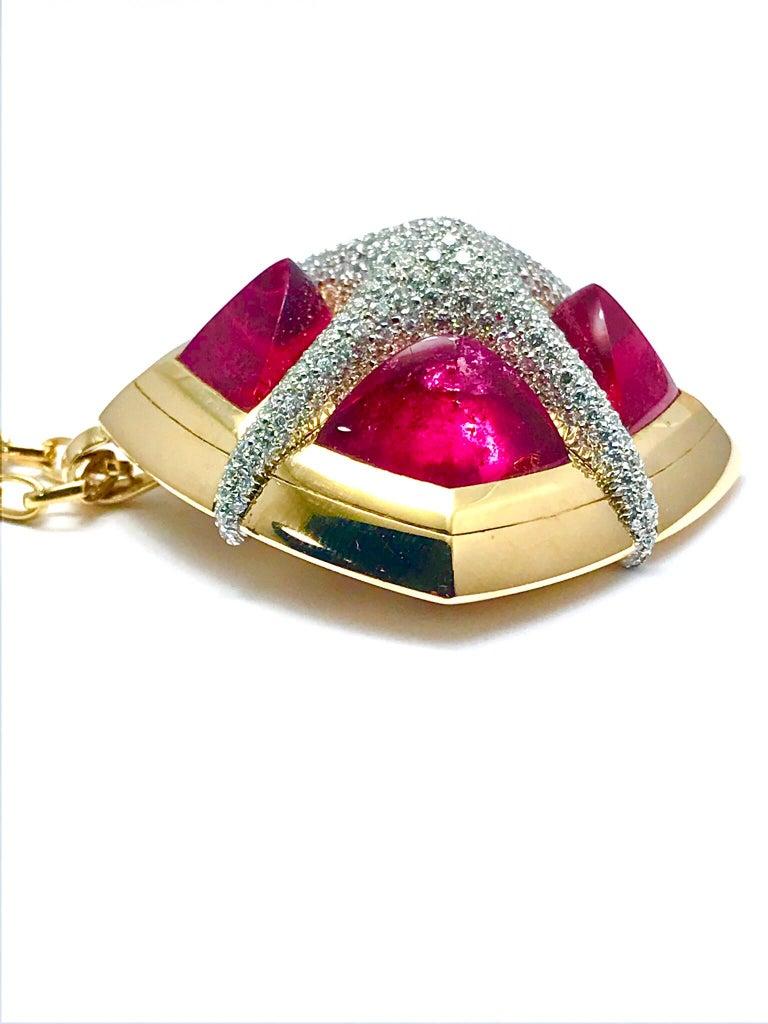 Valente Milano Rubelite Tourmaline and Pave Diamond Rose Gold Necklace For Sale 4