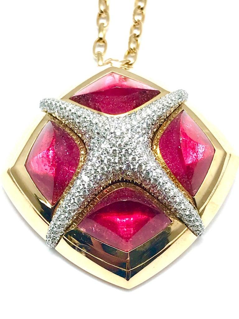 Valente Milano Rubelite Tourmaline and Pave Diamond Rose Gold Necklace For Sale 7