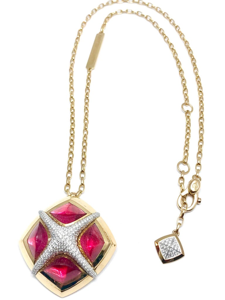 Round Cut Valente Milano Rubelite Tourmaline and Pave Diamond Rose Gold Necklace For Sale