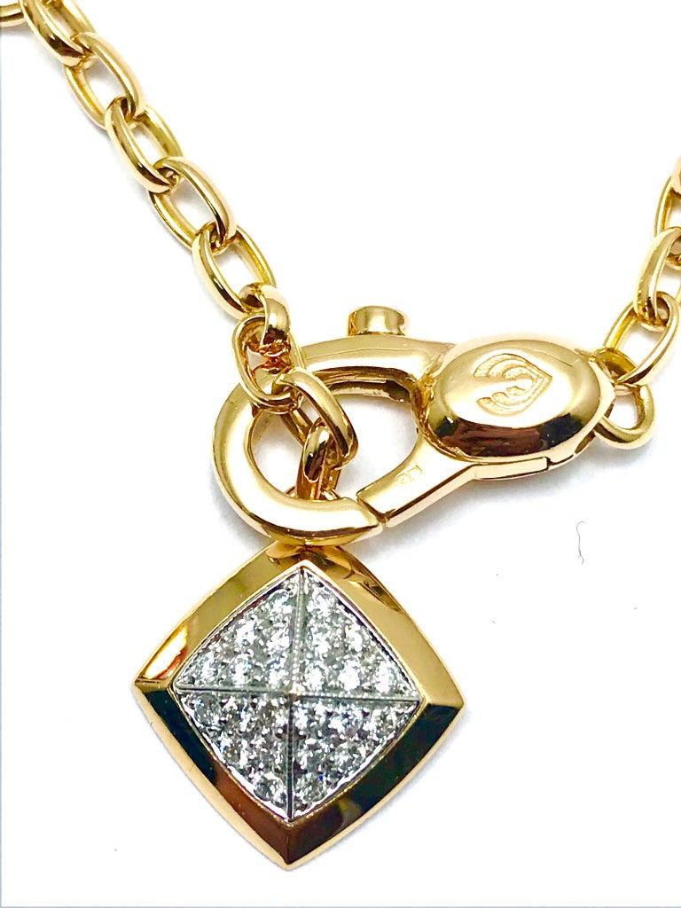 Valente Milano Rubelite Tourmaline and Pave Diamond Rose Gold Necklace For Sale 1