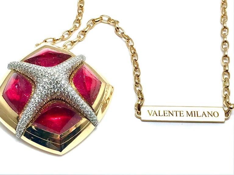 Valente Milano Rubelite Tourmaline and Pave Diamond Rose Gold Necklace For Sale 3