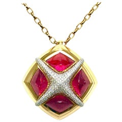 Valente Milano Rubelite Tourmaline and Pave Diamond Rose Gold Necklace