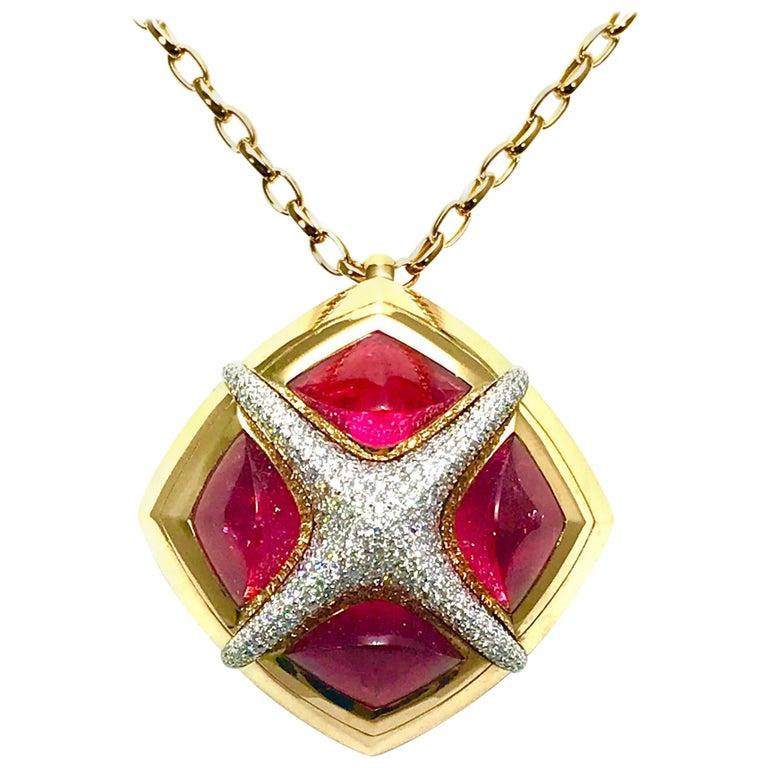 Valente Milano Rubelite Tourmaline and Pave Diamond Rose Gold Necklace For Sale