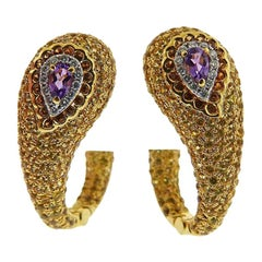 Valente Multi-Color Sapphire Diamond Gold Earrings