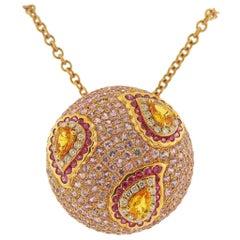Valente Multi-Color Sapphire Diamond Rose Gold Pendant Necklace