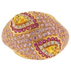 Valente Multi-Color Sapphire Diamond Rose Gold Ring