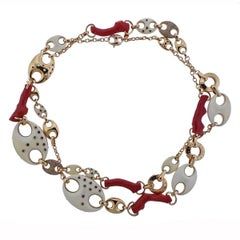 Valente Pink Sapphire Diamond Coral Link Long Necklace