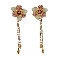 Valente Pink Sapphire Diamond Enamel Gold Flower Earrings