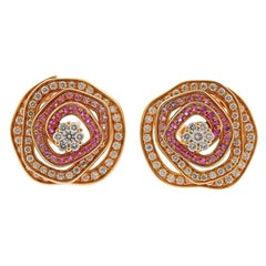 Valente Pink Sapphire Diamond Gold Flower Earrings
