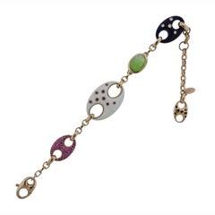 Valente Pink Sapphire Diamond Peridot Ebony Link Bracelet